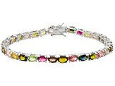 Multi Tourmaline 12.35ctw Oval, Rhodium Over Sterling Silver Bracelet