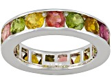 Multi Tourmaline 3.50ctw Round, Rhodium Over Sterling Silver Ring