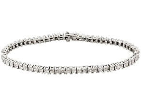 Diamond 1.00ctw Round, Rhodium Over Sterling Silver Bracelet.