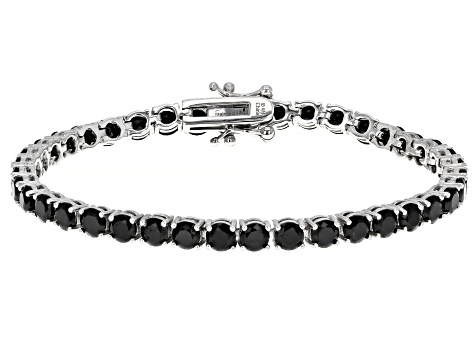 Natural 12ctw Round Black Spinel 925 Sterling Silver Tennis Bracelet