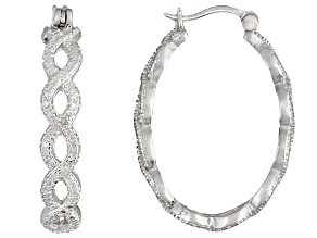 Diamond Accent Rhodium Over Brass Hoop Earrings
