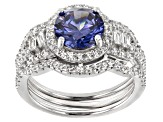 Blue & White Cubic Zirconia Rhodium Over Sterling Silver Ring 5.64CTW