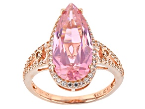 Pink and White Cubic Zirconia 18k Rose Gold Over Sterling Silver Ring 14.62ctw