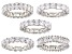 White Cubic Zirconia Rhodium Over Sterling Silver Rings Set Of 5 35.00ctw
