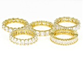 White Cubic Zirconia 18K Yellow Gold Over Sterling Silver Rings Set Of 5 35.00ctw