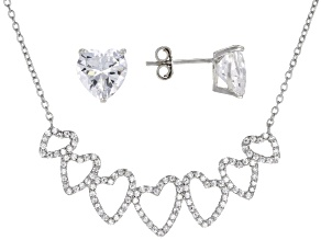White Cubic Zirconia Rhodium Over Sterling Silver Heart Necklace and Earrings 7.24ctw