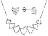 White Cubic Zirconia Rhodium Over Sterling Silver Necklace and Earrings 7.24ctw