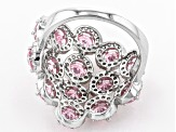 Pink And White Cubic Zirconia Rhodium Over Sterling Silver Cluster Ring 6.86ctw