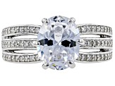 White Cubic Zirconia Rhodium Over Sterling Silver Center Design Ring 5.10ctw