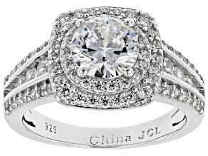White Cubic Zirconia Rhodium Over Sterling Silver Center Design Ring 4.10ctw