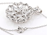 White Cubic Zirconia Rhodium Over Sterling Silver Cluster Pendant With Chain 3.27ctw