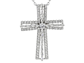 White Cubic Zirconia Rhodium Over Sterling Silver Cross Pendant With Chain 1.11ctw