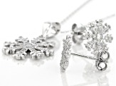 White Cubic Zirconia Rhodium Over Sterling Silver Pendant With Chain & Earrings Set 1.00ctw