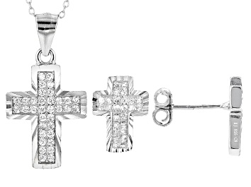 Picture of White Cubic Zirconia Rhodium Over Sterling Silver Cross Pendant With Chain & Earrings Set