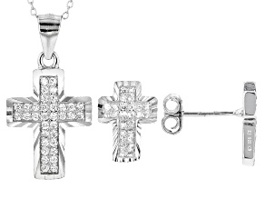 White Cubic Zirconia Rhodium Over Sterling Silver Cross Pendant With Chain & Earrings