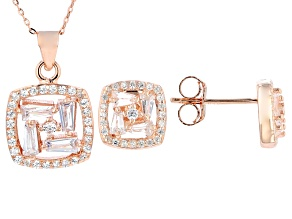 White Cubic Zirconia 18k Rose Gold Over Sterling Silver Pendant With Chain & Earrings Set