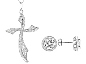 White Cubic Zirconia Rhodium Over Sterling Silver Cross Pendant & Earrings 5.25ctw