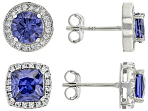 Blue And White Cubic Zirconia Rhodium Over Sterling Silver Earrings 6.50ctw