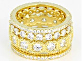 White Cubic Zirconia 18K Yellow Gold Over Sterling Silver Ring Set Of 5 7.58ctw