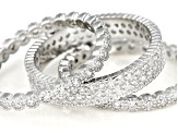 White Cubic Zirconia Rhodium Over Sterling Silver Rings Set Of 3 5.67CTW