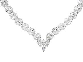 White Cubic Zirconia Rhodium Over Sterling Silver Necklace 68.00ctw