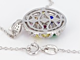 Multicolor Cubic Zirconia Rhodium Over Sterling Silver Pendant With Chain 2.50ctw