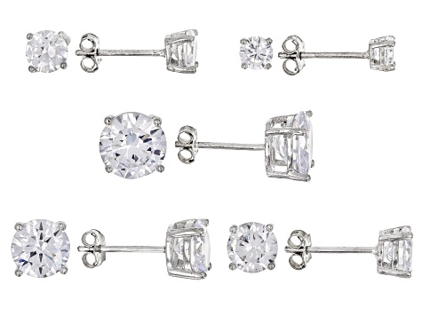 White Cubic Zirconia Rhodium Over Sterling Silver Earrings Set Of 5 15.74ctw
