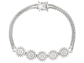White Cubic Zirconia Rhodium Over Sterling Silver Bracelet 2.85ctw