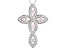 Rhodium Over Sterling Silver Cross Pendant With Chain 1.18ctw