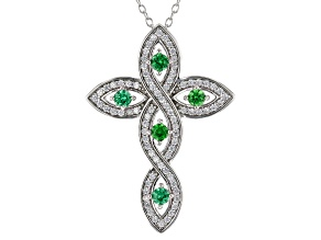 Green and White Cubic Zirconia Rhodium Over Silver Cross Pendant With Chain