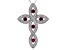 Lab Created Ruby & Cubic Zirconia Rhodium Over Silver Cross Pendant With Chain