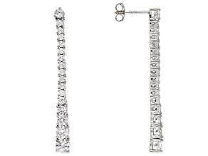 White Cubic Zirconia Rhodium Over Sterling Silver Earrings 4.90ctw
