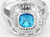 Blue & White Cubic Zirconia Rhodium Over Sterling Silver Center Design Ring 7.67ctw