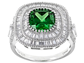 Green & White Cubic Zirconia Rhodium Over Sterling Silver Center Design Ring 7.67ctw