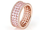 Pink & White Cubic Zirconia 18K Rose Gold Over Sterling Silver Ring 6.71ctw
