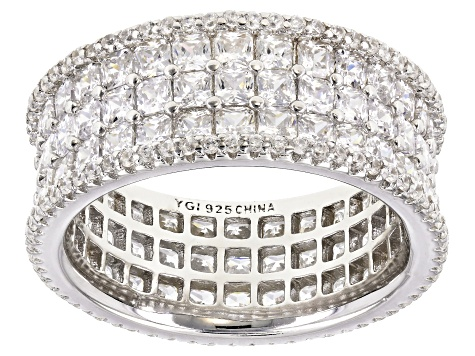 White Cubic Zirconia Rhodium Over Sterling Silver Ring 6.71ctw