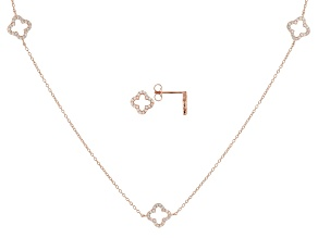 White Cubic Zirconia 18K Rose Gold Over Sterling Silver Necklace & Earrings Set 1.40ctw