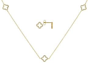 White Cubic Zirconia 18K Yellow Gold Over Sterling Silver Necklace & Earrings Set 1.40ctw