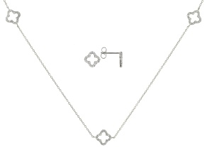 White Cubic Zirconia Rhodium Over Sterling Silver Necklace & Earrings Set 1.40ctw