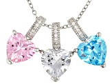 Blue, White, & Pink Cubic Zirconia Rhodium Over Silver Set Of 3 Heart Pendants With Chain 8.56ctw