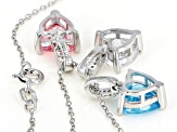 Blue, White, & Pink Cubic Zirconia Rhodium Over Silver Center Design Set Of 3 Pendants With Chain