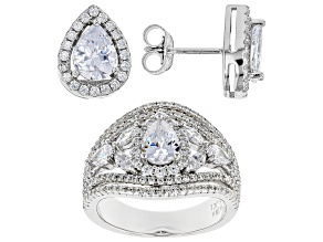 White Cubic Zirconia Rhodium Over Sterling Silver Center Design Ring & Earrings Set