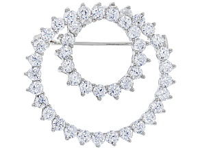 White Cubic Zirconia Rhodium Over Sterling Silver Brooch 8.28ctw