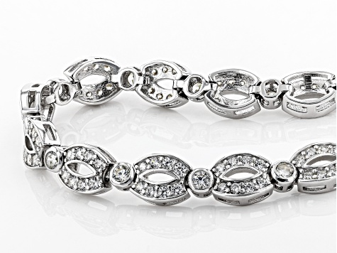 White Cubic Zirconia Rhodium Over Sterling Silver Cluster Bracelet 6.24ctw