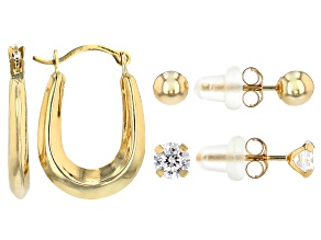 White Cubic Zirconia 14K Yellow Gold Earrings Set Of 3