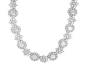 White Cubic Zirconia Rhodium Over Sterling Silver Necklace 30.00CTW