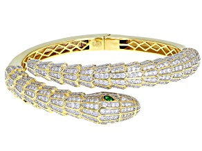 Emerald Simulant & White Cubic Zirconia 18k Yellow Gold Over Silver Snake Bracelet