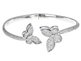 White Cubic Zirconia Rhodium Over Silver Butterfly Bracelet 3.75ctw