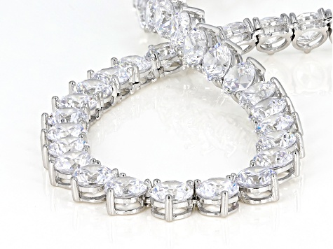 White Cubic Zirconia Rhodium Over Sterling Silver Necklace 51.50ctw
