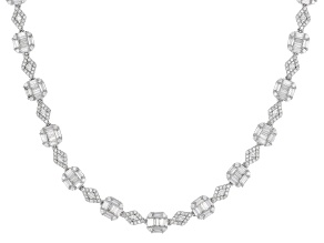 White Cubic Zirconia Rhodium Over Sterling Silver Necklace 21.25